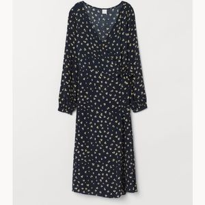 H&M navy floral wrap dress